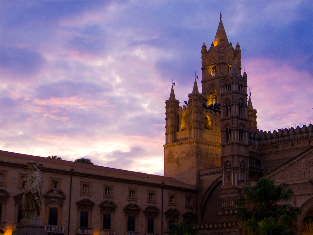 The cathedral of Palermo in the evening light