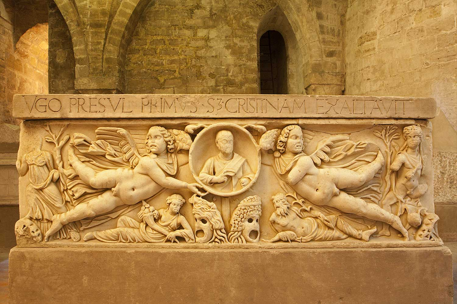 A sarcophagus in the basement of the cathedral