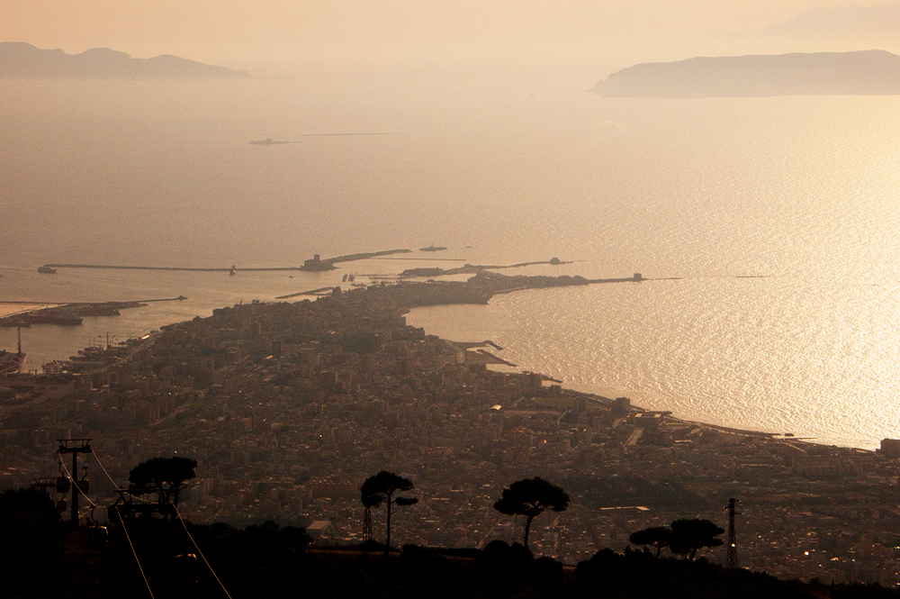 View of Trapani and the Egadi Islands from the cable car
