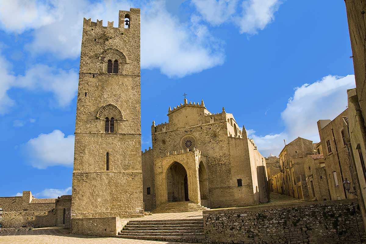 The cathedral and bell tower of Erice