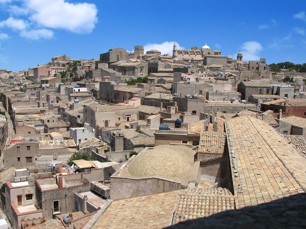 The town of Erice and the cathedral seen from the bell tower