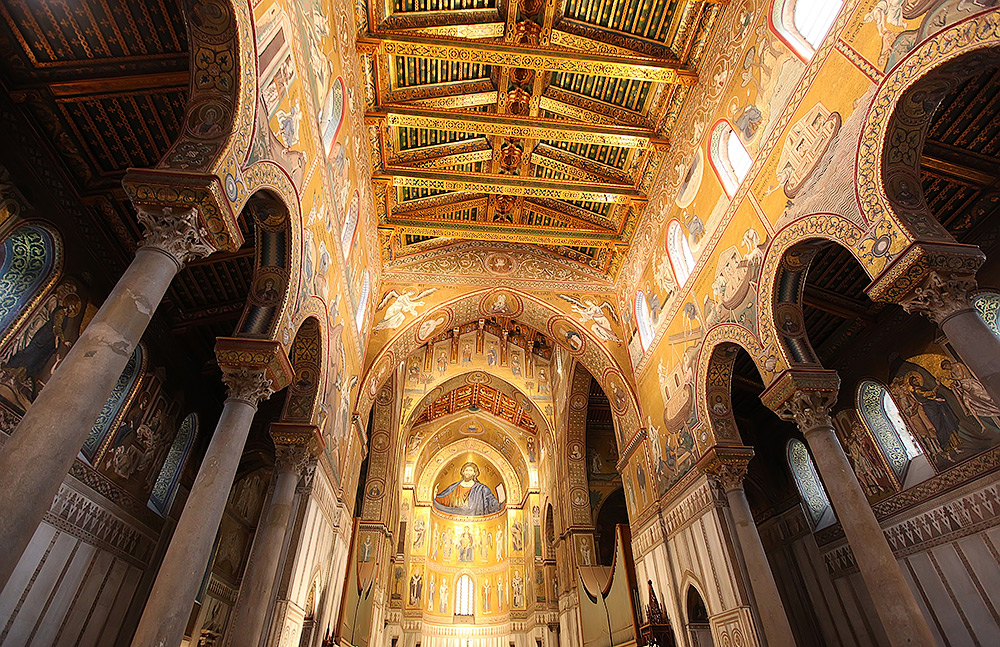The beautiful mosaics in the cathedral of Monreale