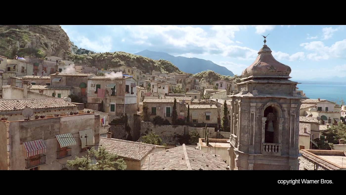 The roofs and a church in the fictional town in the movie.
