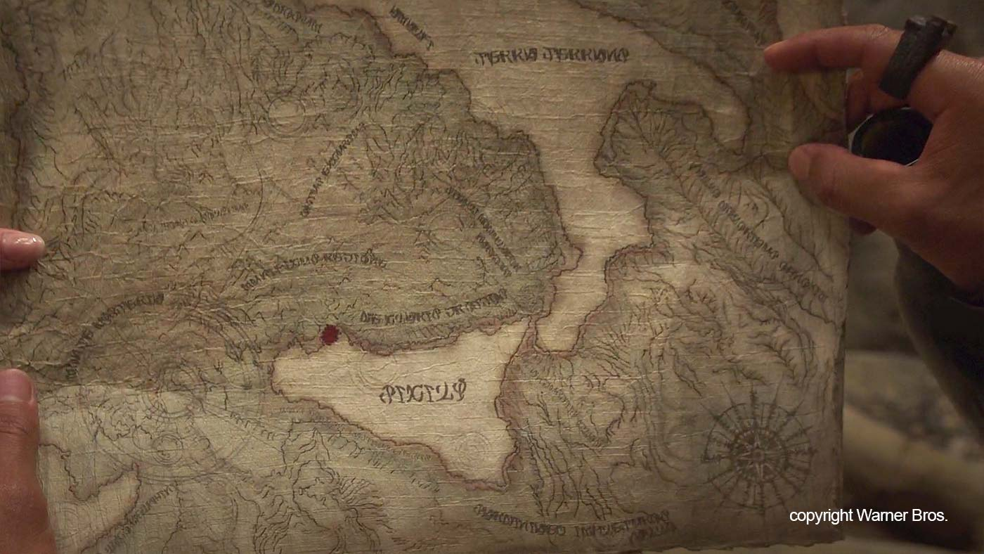 An old map of Sicily used in the movie Aquaman