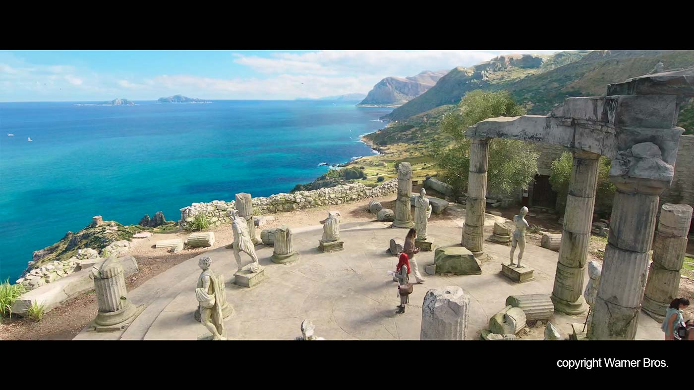 The temple and the coastline in the movie