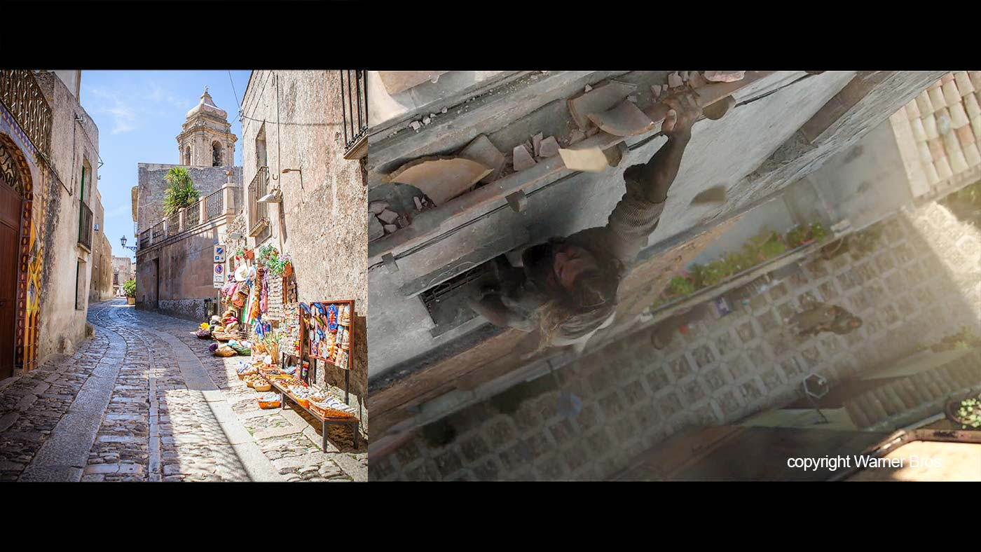 One of the streets of Erice compared to the scene in the movie.