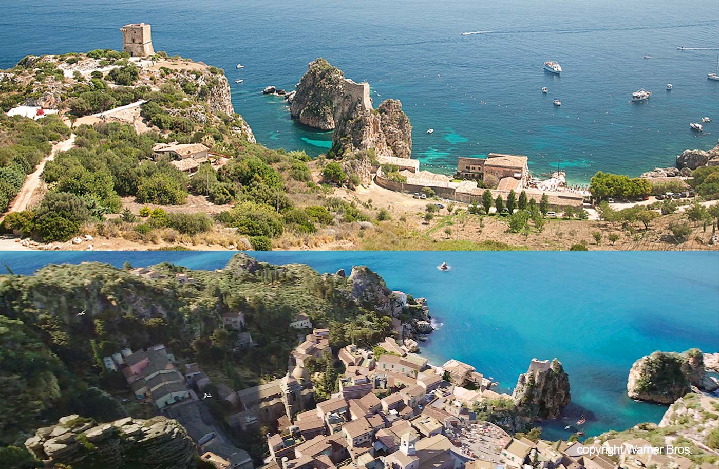 A comparison between the place from the movie and the coast at the tonnara near Scopello