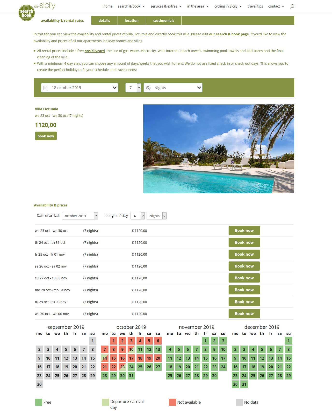Book via the information page of the accommodation