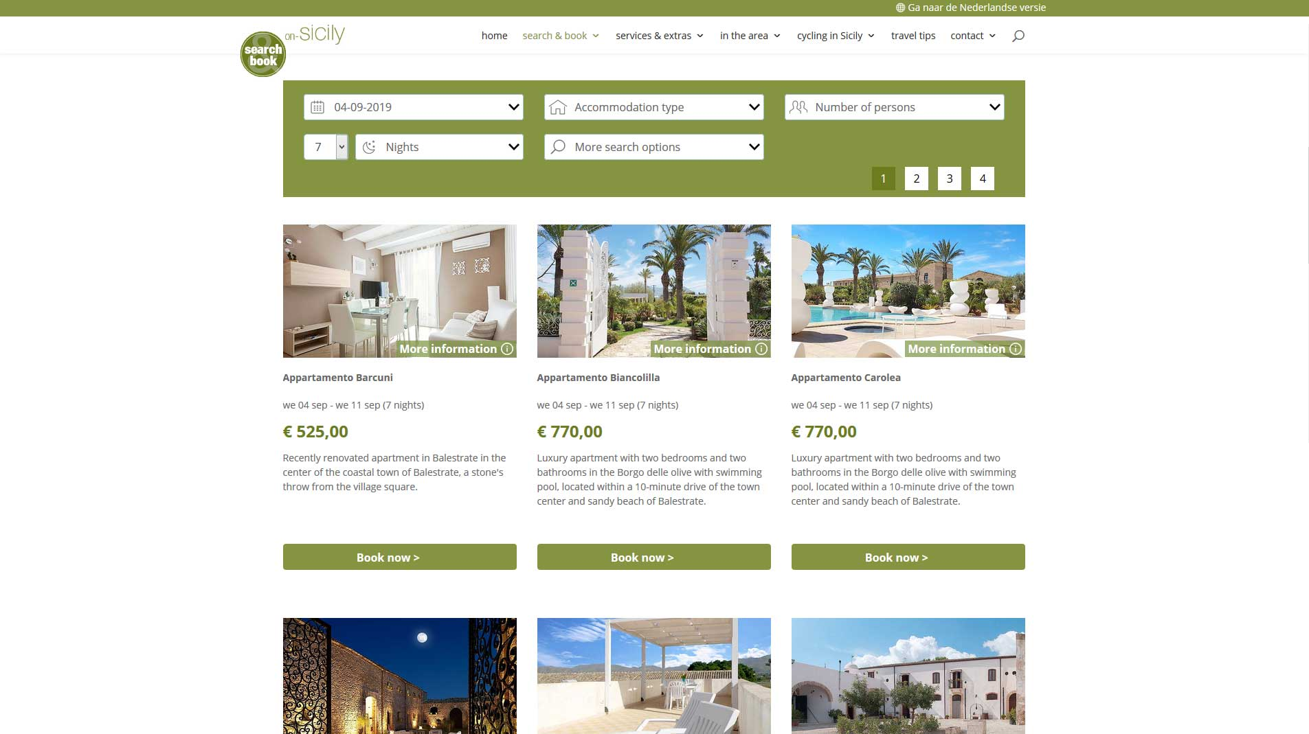 Search and book page on-Sicily