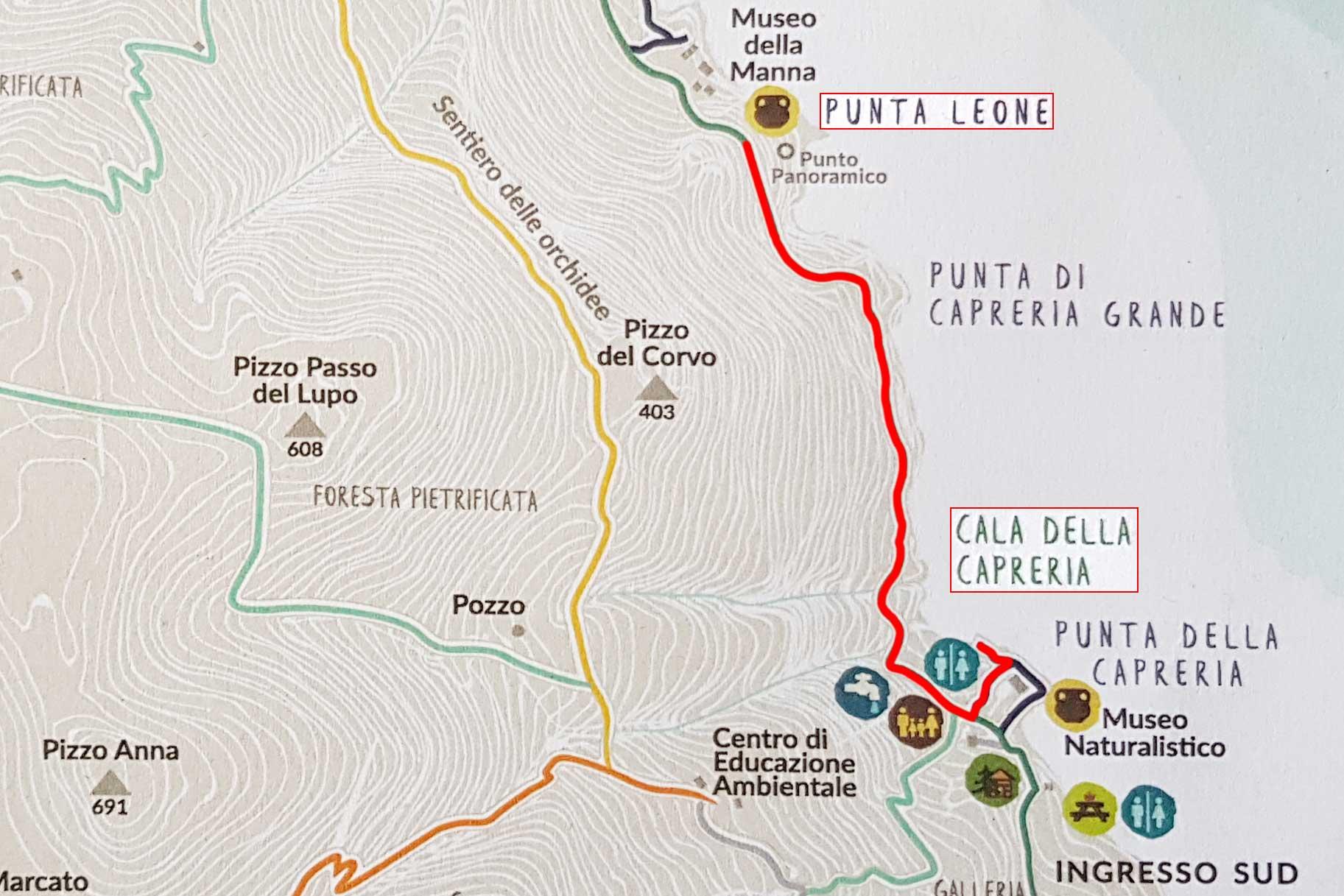 From Cala della Capreria to Punta Leone
