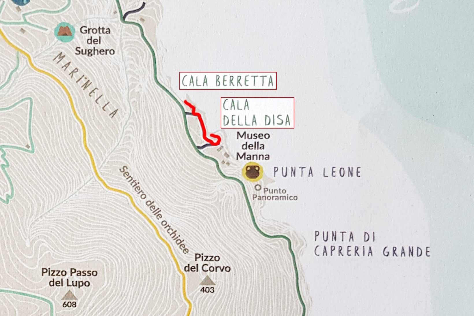 From Cala della Disa to Cala Berretta